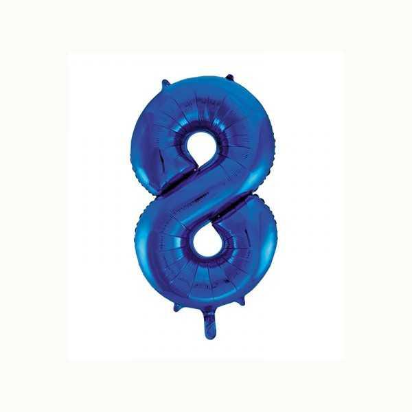 Folienballon Zahl 8 metallic-blau, 1 Stk