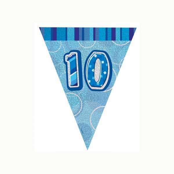 Wimpelkette Zahl 10 blau glitzernd, 1 Stk.