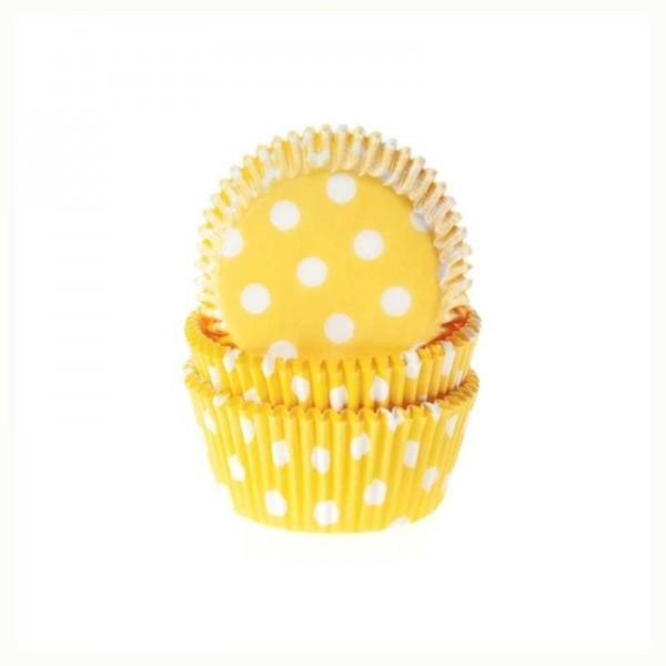 Muffinförmchen gelb mit weissen Punkten, 50 Stk.
