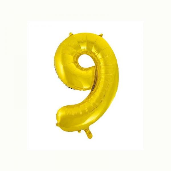 Folienballon Zahl 9 metallic-gold, 1 Stk.