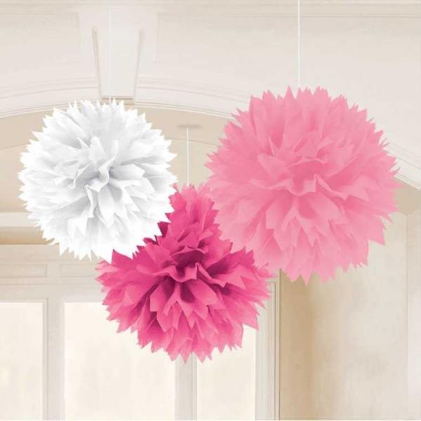 Pompon Mix pink 40cm, 3 Stk