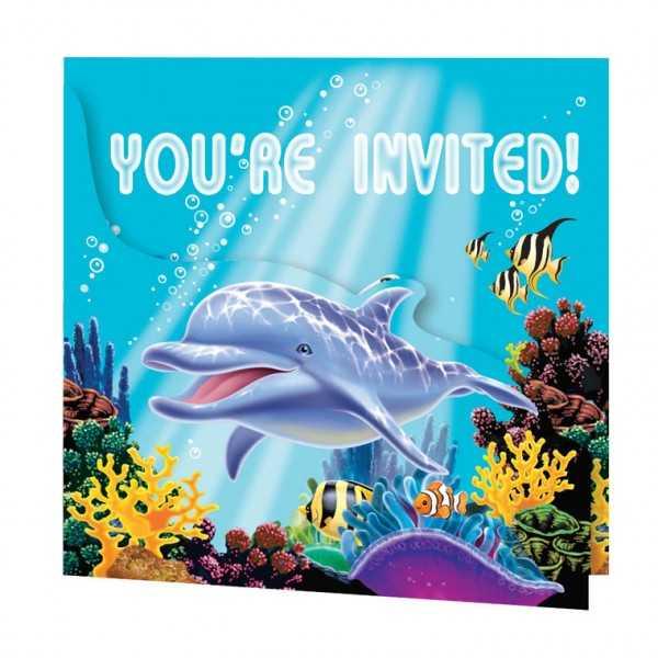 Einladung Delfin, 8 Stk