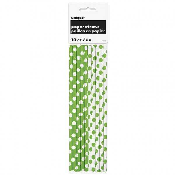 Papiertrinkhalme grün-weiss mit Punkten, 10 Stk