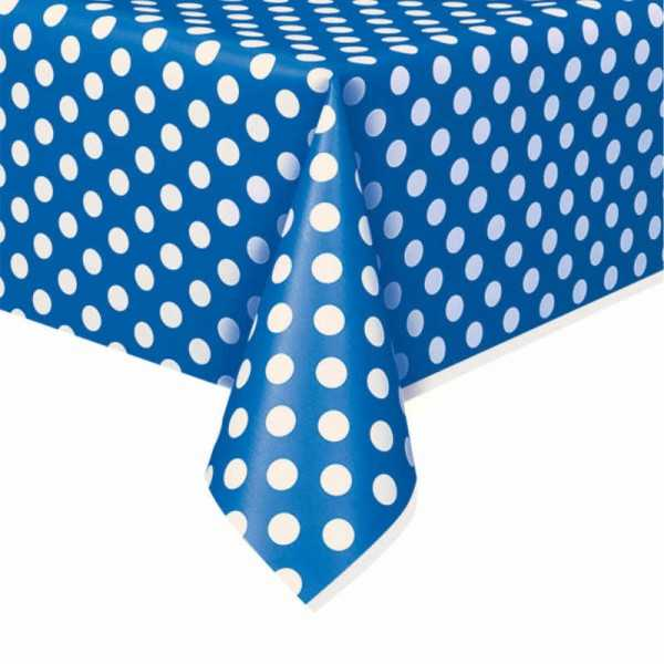 Tischdecke blau mit weissen Punkten
