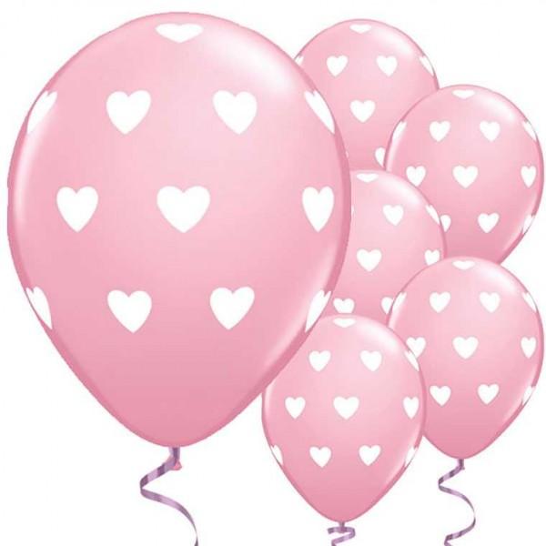 Luftballons rosa mit weissen Herzen, 6 Stk.