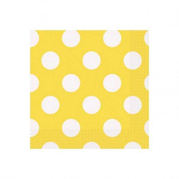 Servietten gelb mit weissen Punkten, 16 Stk.