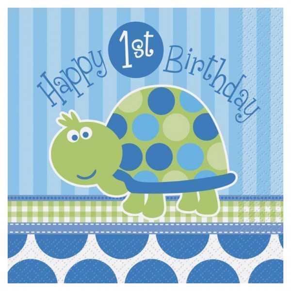 Servietten 1. Geburtstag. Schildkröte, 16 Stk