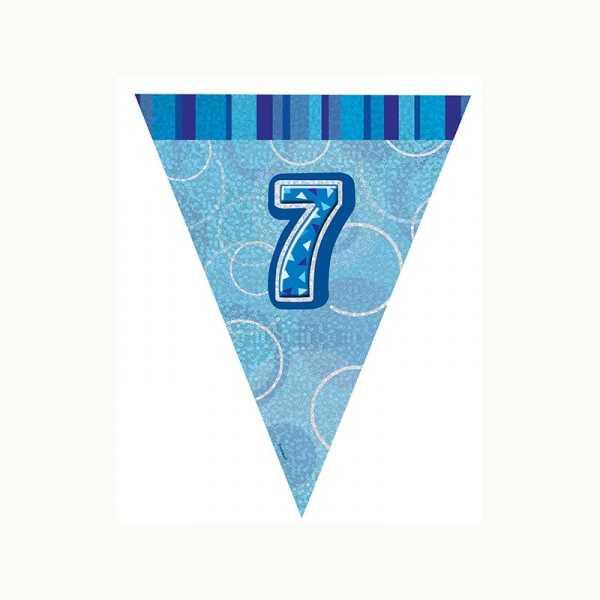 Wimpelkette Zahl 7 blau glitzernd, 1 Stk