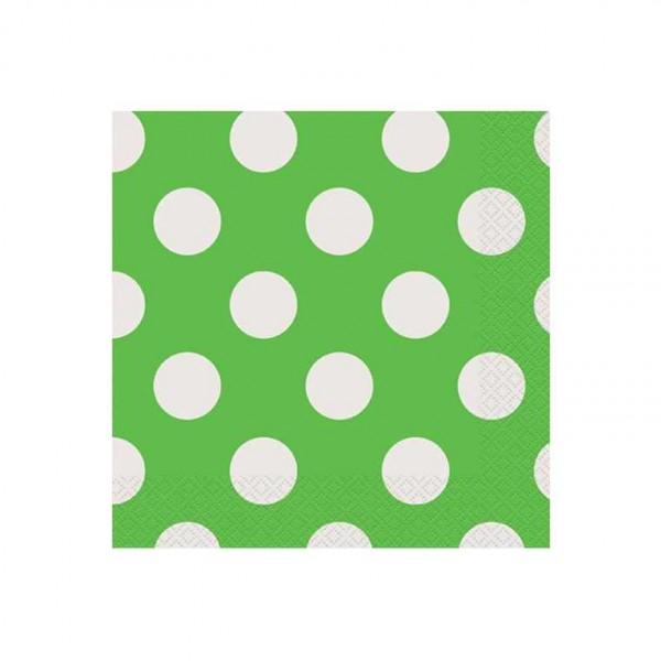 Servietten grün mit weissen Punkten, 16 Stk.