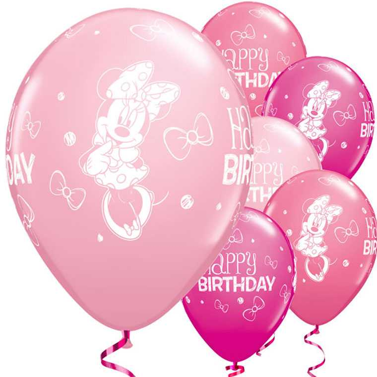 ballons minnie maus happy birthday 25 stk baby minnie maus 1 geburtstag themenwelten. Black Bedroom Furniture Sets. Home Design Ideas