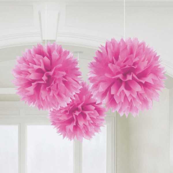 Pompon pink 40cm, 3 Stk.