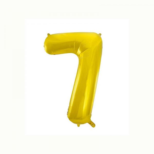 Folienballon Zahl 7 metallic-gold, 1 Stk.