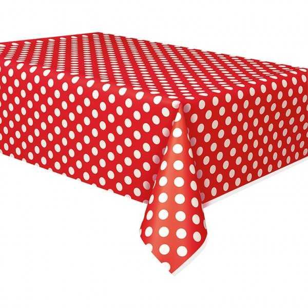 Tischdecke rot mit weissen Punkten