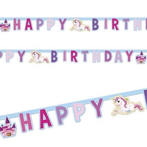 Girlande Happy Birthday Einhorn Traumwelt, 1 Stk.