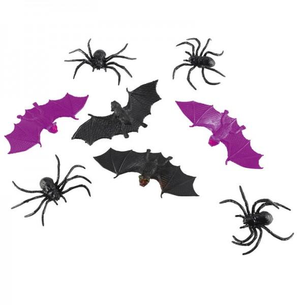 Halloweendeko Spinnen & Fledermäuse, 14 tlg.