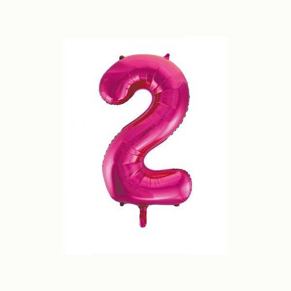 Folienballon Zahl 2 metallic-pink, 1 Stk.