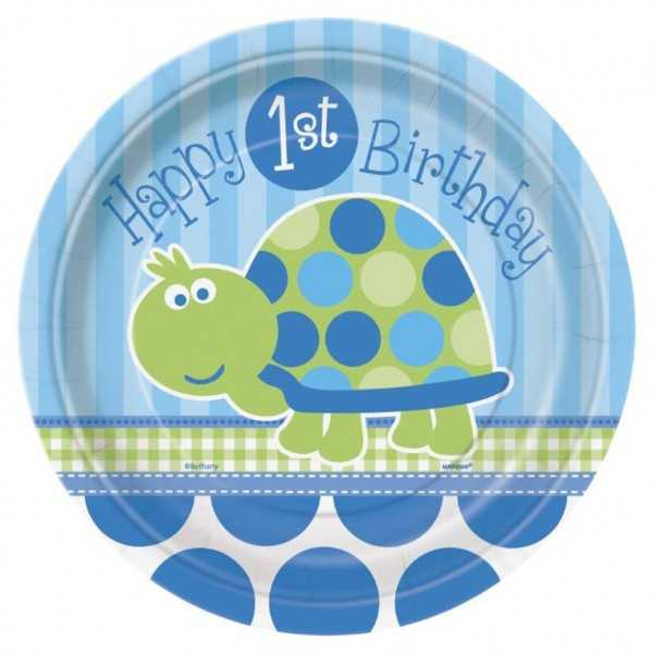 Teller 1. Geburtstag. Schildkröte, 8 Stk