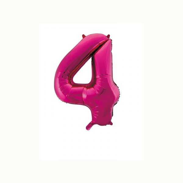Folienballon Zahl 4 metallic-pink, 1 Stk.