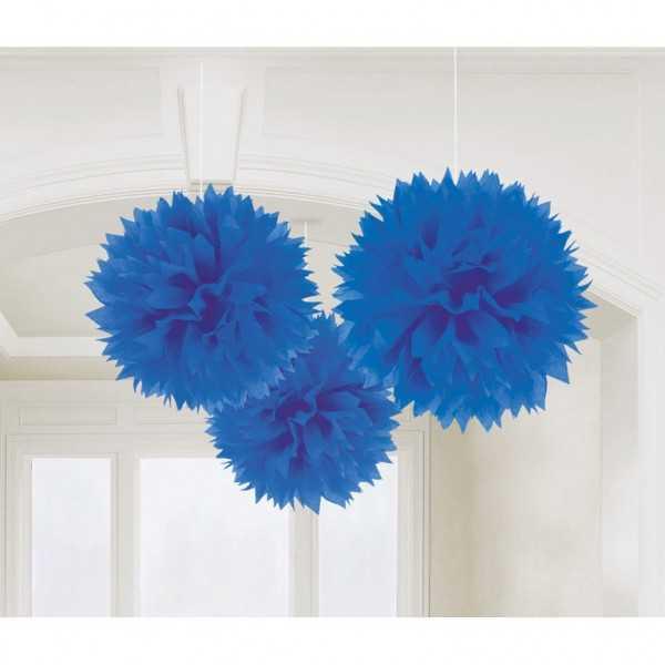 Pompon blau 40cm, 3 Stk