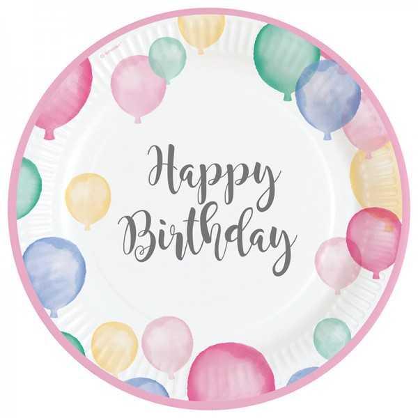 Teller Happy Birthday Pastell, 8 Stk.