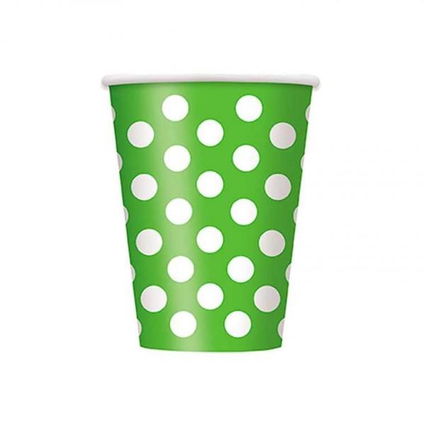 Becher grün mit weissen Punkten, 6 Stk.