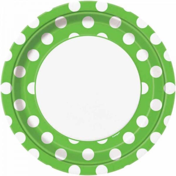 Partyteller grün mit weissen Punkten