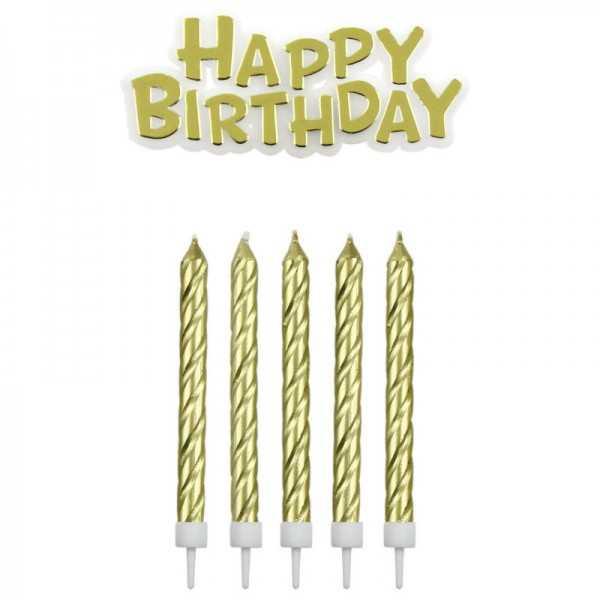 Geburtstagskerzen Happy Birthday gold