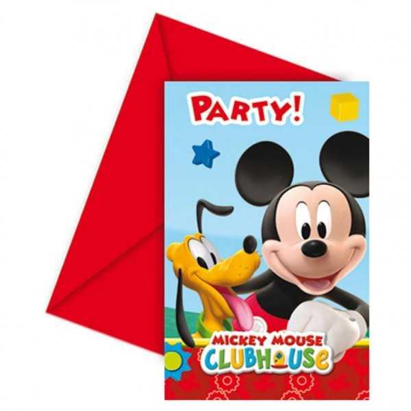 Einladungskarten Micky Maus Party, 6 Stk