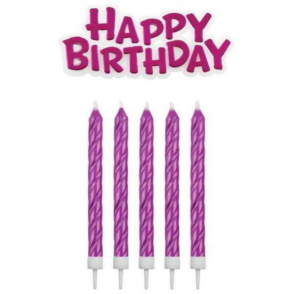 Geburtstagskerzen Happy Birthday pink