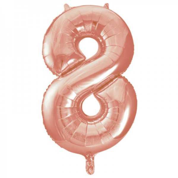Folienballon Zahl 8 Rose Gold, 1 Stk.