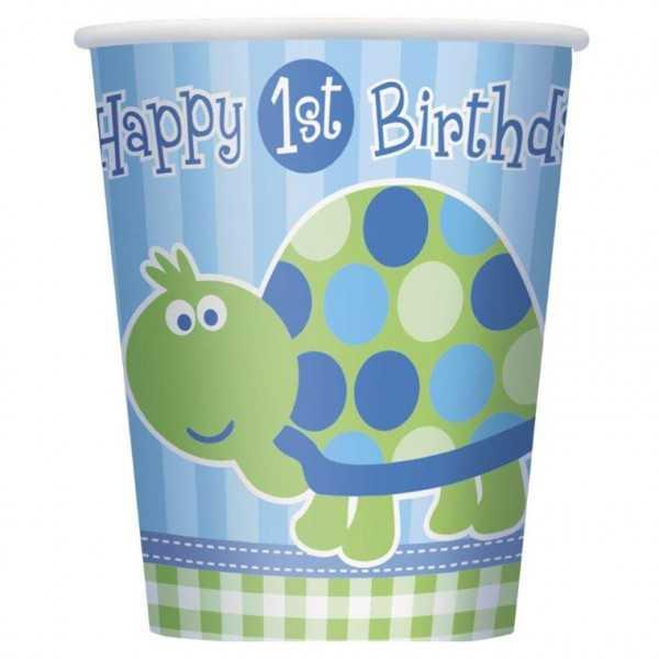 Becher 1. Geburtstag. Schildkröte, 8 Stk