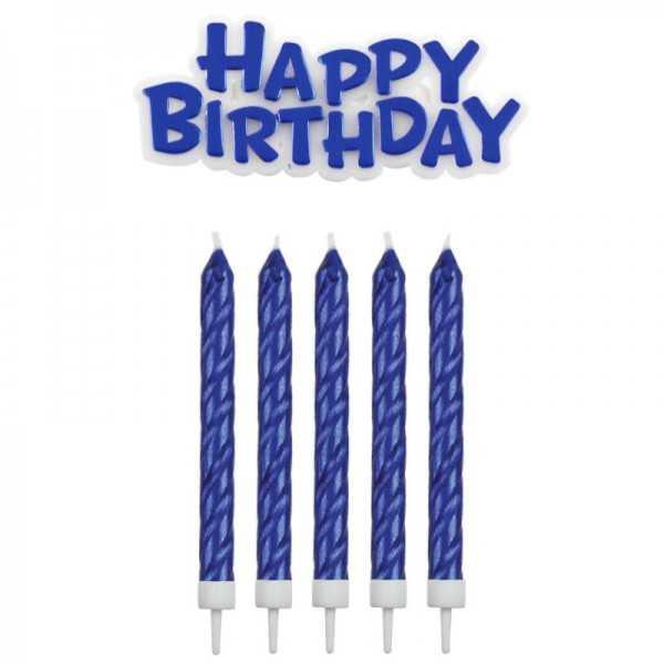Geburtstagskerzen Happy Birthday blau