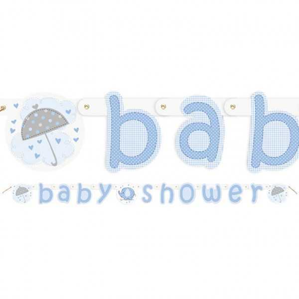 Babyshower Girlande Babyfant blau, 1 Stk.