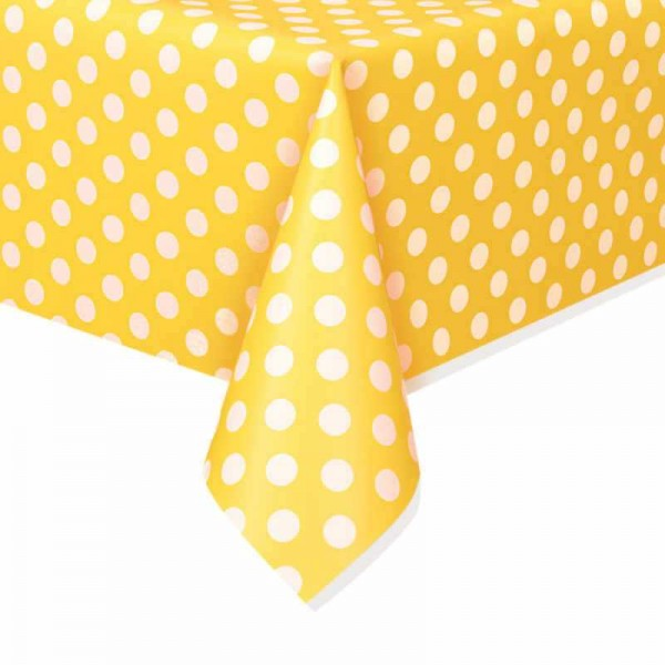 Tischdecke gelb mit weissen Punkten