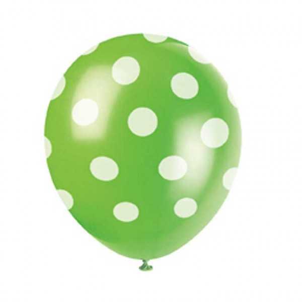 Luftballons grün mit weissen Punkten, 6 Stk.
