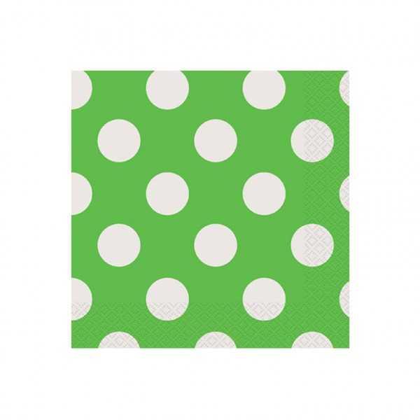 Servietten grün mit weissen Punkten, 16 Stk