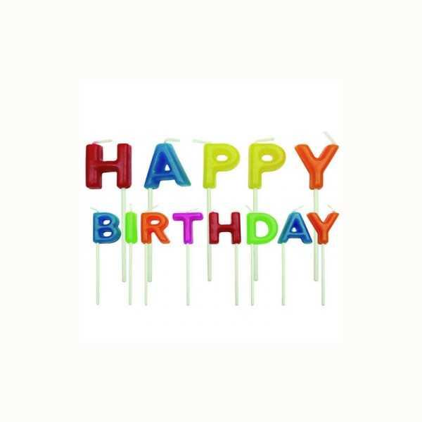 Geburtstagskerze HAPPY BIRTHDAY bunt, 1 Stk