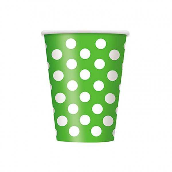 Becher grün mit weissen Punkten, 6 Stk