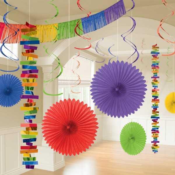 Partyraum-Dekoset regenbogenfarben, 18 tlg.