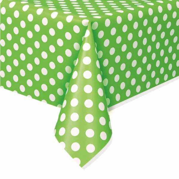 Tischdecke grün mit weissen Punkten