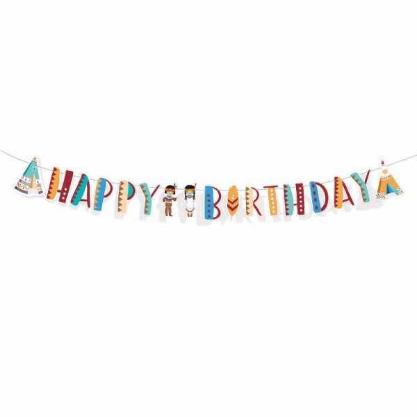 Girlande Happy Birthday Indianer