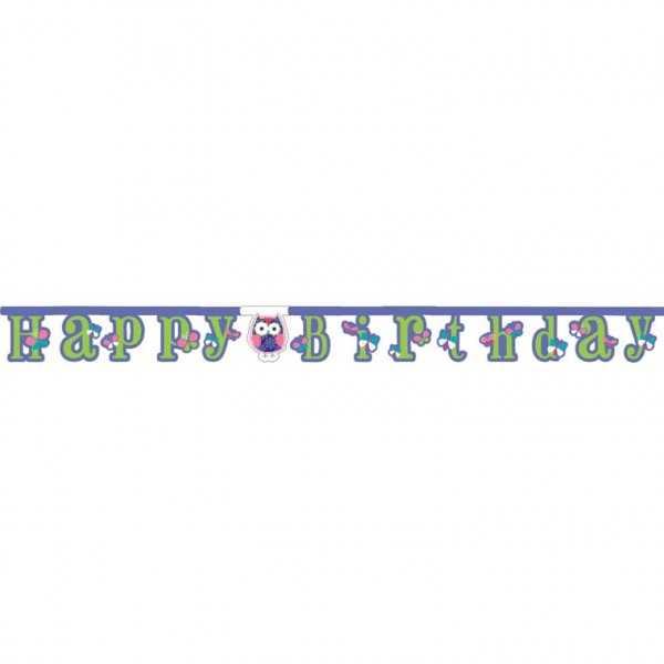 Girlande Happy Birthday Trendy Eulen, 1 Stk