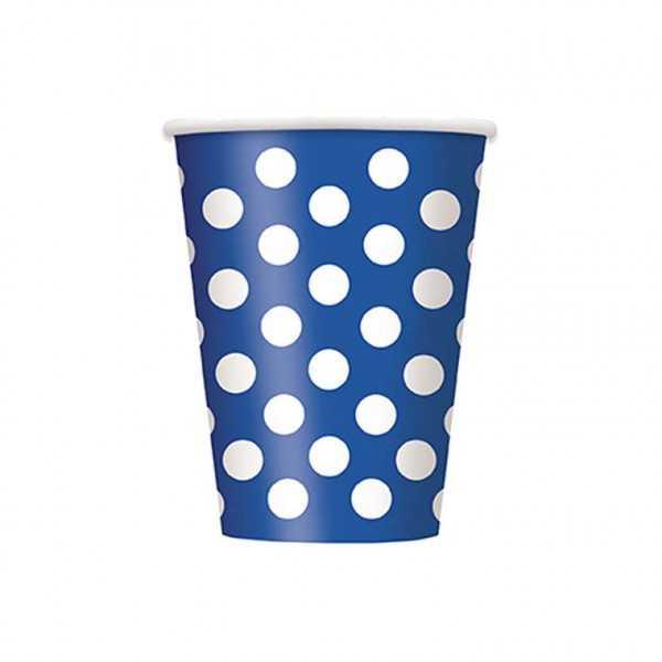 Becher blau mit weissen Punkten, 6 Stk
