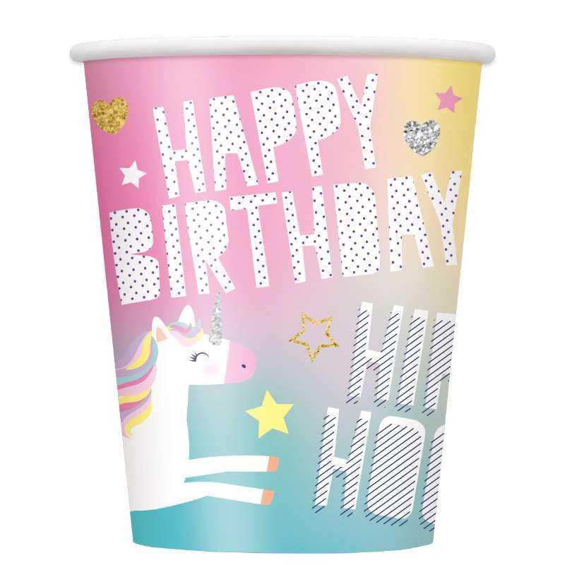 einhorn happy birthday becher  juniorpartyshopch