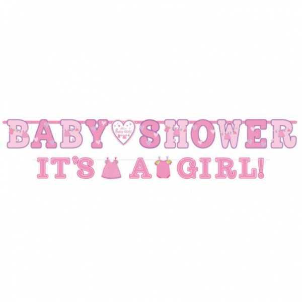 """Babyshower Girlande """"Hurra, ein Mädchen!"""""""