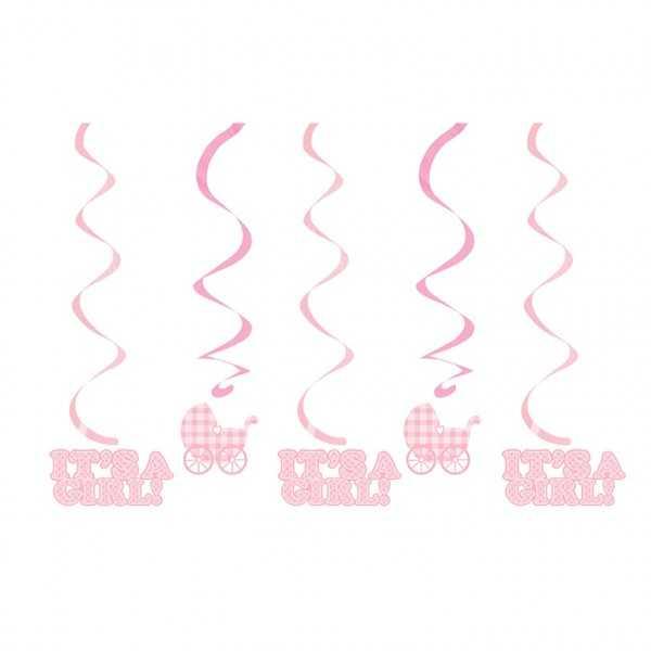 Hängedeko Babyparty Hurra ein Mädchen! pink, 1 Stk