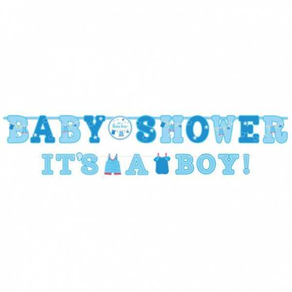 """Babyshower Girlande """"Hurra, ein Junge!"""", 1 Stk."""