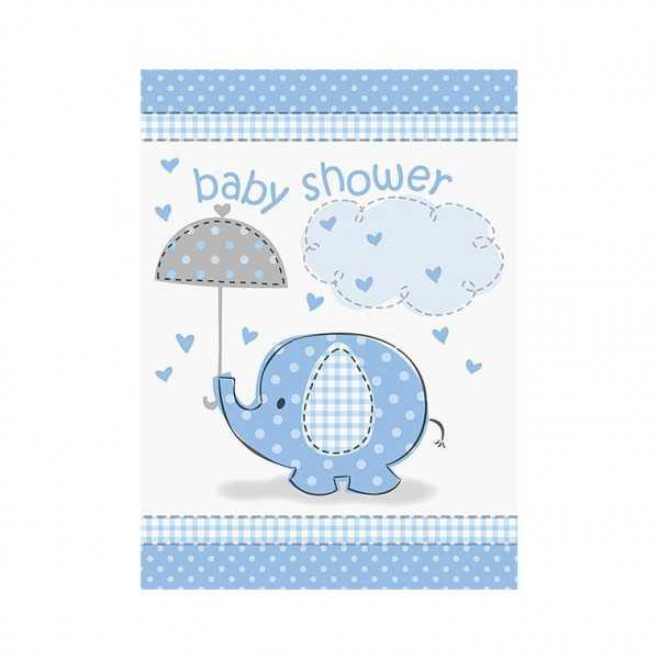 Einladungskarten Babyfant blau, 8 Stk.