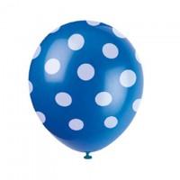 Luftballons blau mit weissen Punkten, 6 Stk.
