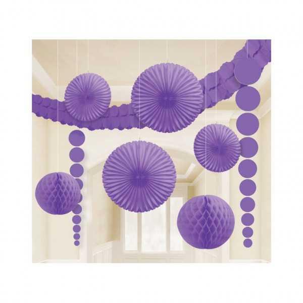 Partyraum-Dekoset violett, 9-tlg